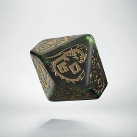 D100 Dragons Bottle green & gold Die (1)
