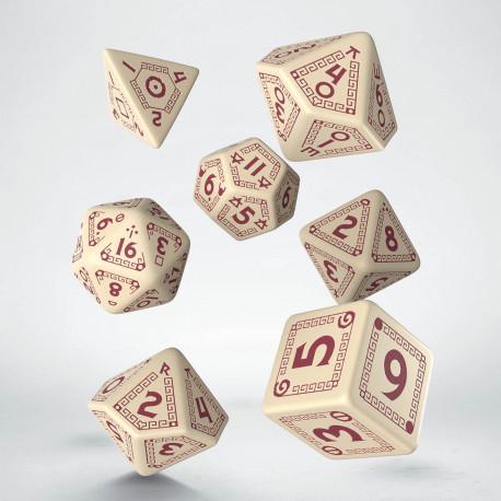 Kości RPG RuneQuest Beżowo-bordowe (7)