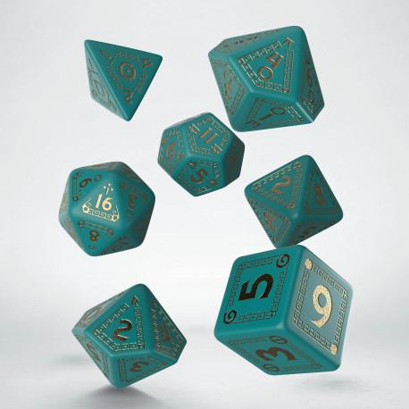 Kości RPG RuneQuest Turkusowo-złote (7)