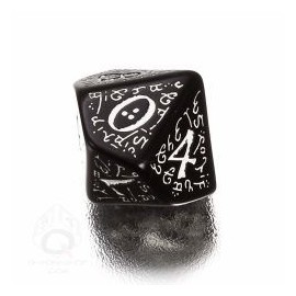 D10 Elvish Black & white Die (1)