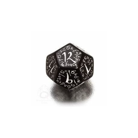 D12 Elvish Black & white Die (1)