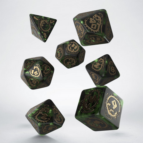 Dragons Bottle green & gold Dice Set (7)