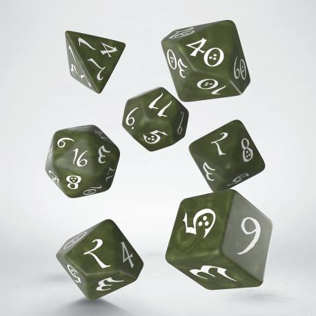 Kości RPG Klasyczne Oliwkowo-białe (7)