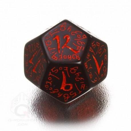 D12 Elvish Black & red Die (1)