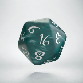 D20 Classic Stormy & white Die (1)