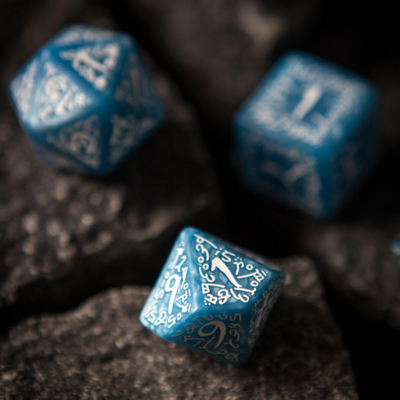 Green /& White Elvish dice set by Q-workshop