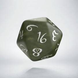 D20 Classic Olive & white Die (1)