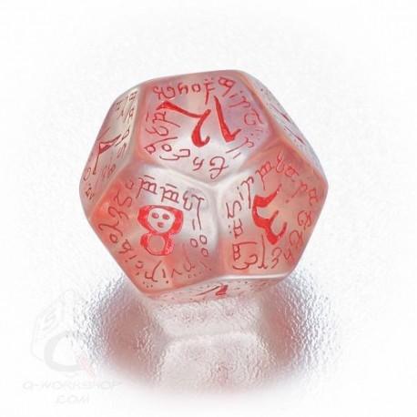 D12 Elvish Translucent & red Die (1)