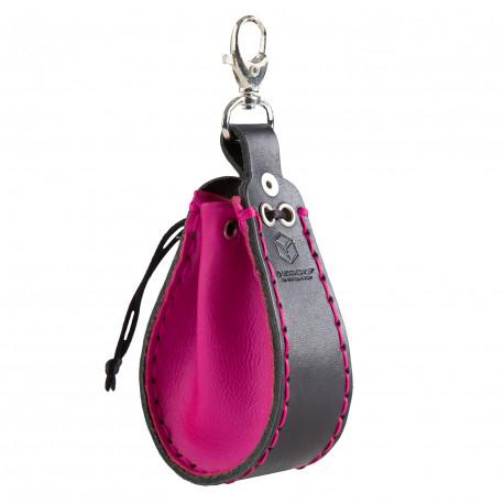Magenta & black Leather Dice Wallet