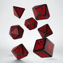 Kości RPG Krasnoludzkie Czarno-czerwone (7)