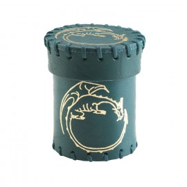 Dragon Emerald & gold Leather Dice Cup