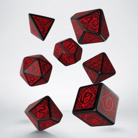 Celtic 3D Revised Black & red Dice Set (7)