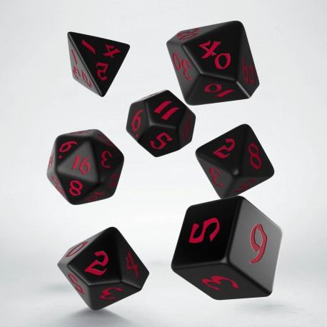 Kości RPG Klasyczno Runiczne Czarno-czerwone (7)