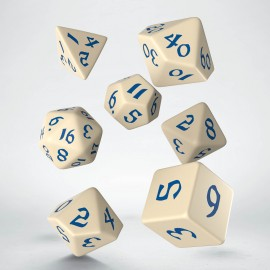 Kości RPG Klasyczno Runiczne Beżowo-niebieskie (7)
