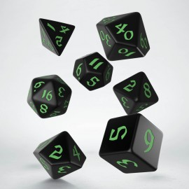 Classic Runic Black & green Dice Set (7)