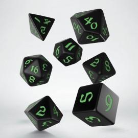 Kości RPG Klasyczno Runiczne Czarno-zielone (7)