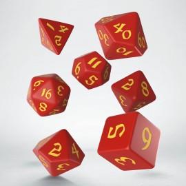 Kości RPG Klasyczno Runiczne Czerwono-żółte (7)