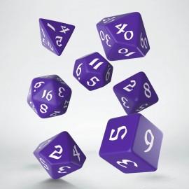 Kości RPG Klasyczno Runiczne Fioletowo-białe (7)