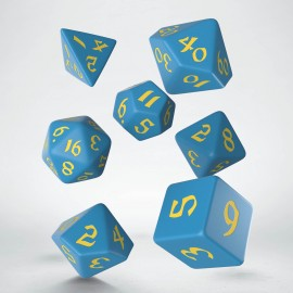 Kości RPG Klasyczno Runiczne Niebiesko-żółte (7)