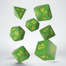 Kości RPG Klasyczno Runiczne Zielono-żółte (7)