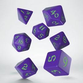 Kości RPG Klasyczno Runiczne Fioletowo-zielone (7)