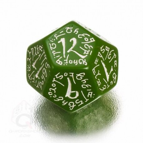 D12 Elvish Green & white Die (1)