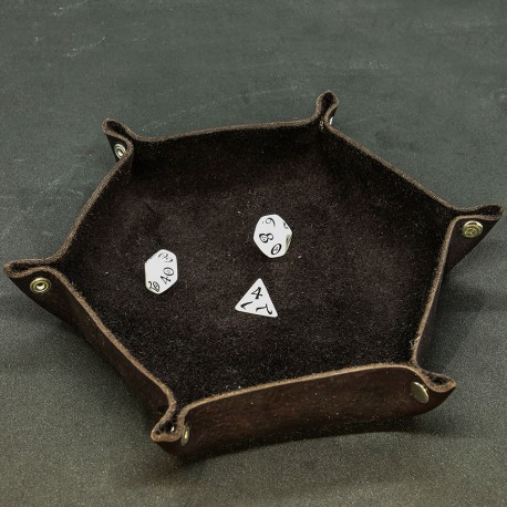 Leather Dice Tray, Brown - Unusual UN002