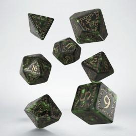 Kości RPG Runiczne Butelkowo zielono-złote