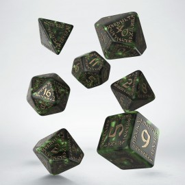Runic Bottle-green & gold Dice Set