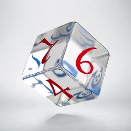 D6 Classic Translucent Blue & red Die