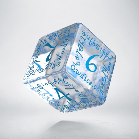 D6 Elvish Translucent & blue Die