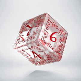 D6 Elven Translucent & red Die