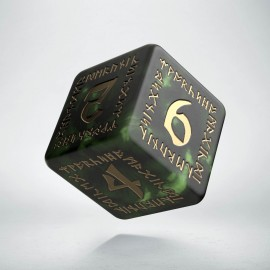D6 Runic Bottle green & gold Die (1)
