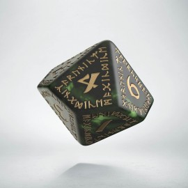 D10 Runic Bottle green & gold Die (1)