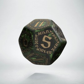 D12 Runic Bottle green & gold Die (1)