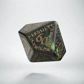 D100 Runic Bottle green & gold Die (1)