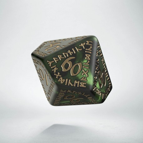D100 Runic Bottle green & gold Die (1)
