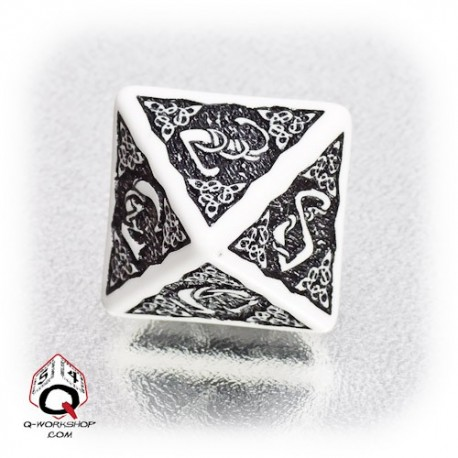 D8 Celtic 3D White & black Die (1)