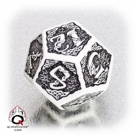 D12 Celtic 3D White & black Die (1)