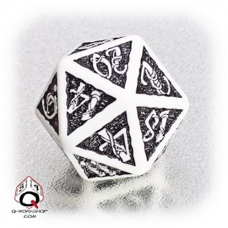 D20 Celtic 3D White & black Die (1)