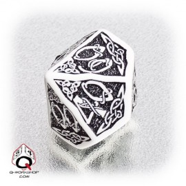 D100 Celtic 3D White & black Die (1)