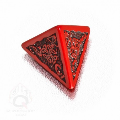 D4 Celtic 3D Red & black Die (1)