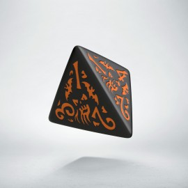D4 Halloween Pumpkin Black & orange die