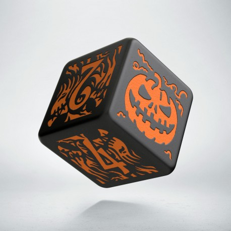 D6 Halloween Pumpkin Black & orange die