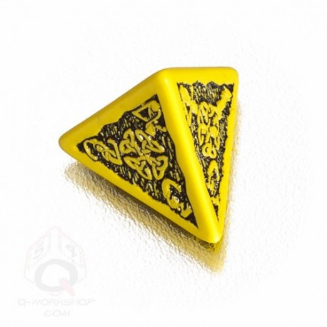 D4 Celtic 3D Yellow & black Die (1)