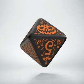 D8 Halloween Pumpkin Black & orange die