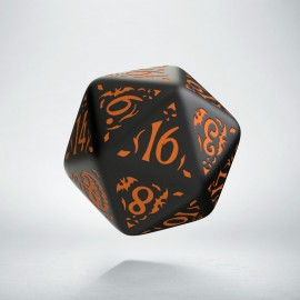 D20 Halloween Pumpkin Black & orange die