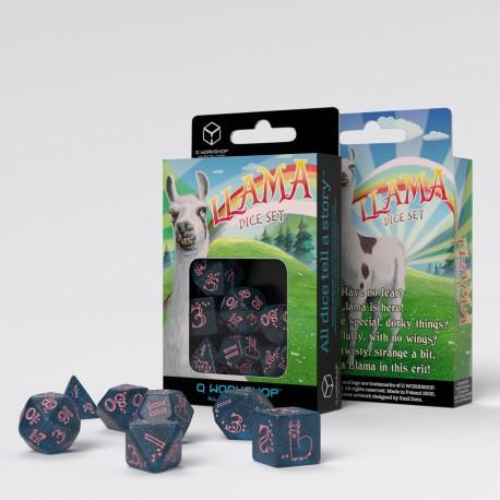 Sparkling Llama Dice Set (Glittering dark blue & pink)