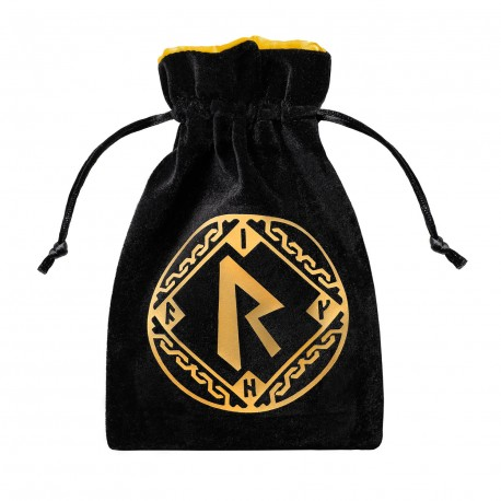 Runic Black & golden Velour Dice Bag