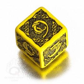 D6 Celtic 3D Yellow & black Die (1)